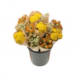 Botte de fleurs séchées jaune/vert