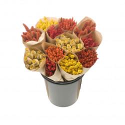 Botte de fleurs séchées orange/jaune