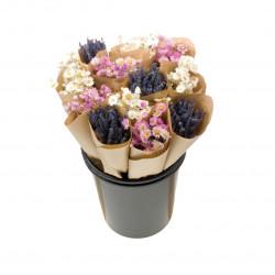 Botte de fleurs séchées rose/blanc