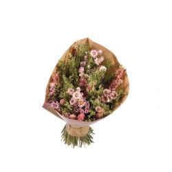 Bouquet de fleurs séchées L rose/vert