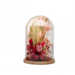 Compo fleurs séchées cloche L rose