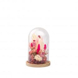 Compo fleurs séchées cloche S rose