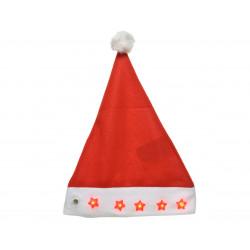 Bonnet père Noël étoile clignot. 30x40cm rouge - DECORIS