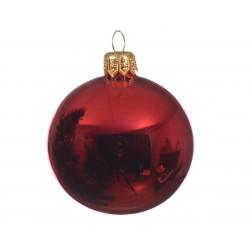 Boule en verre uni brillant ø8 rouge - DECORIS