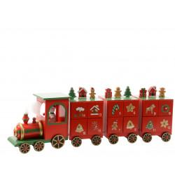 Calendrier avent train bois 48x9.5x15cm rouge - DECORIS