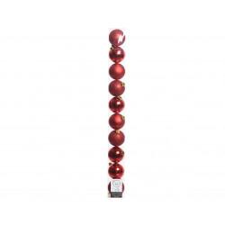 Boule uni mat brillant tube de 10 ø6 rouge - DECORIS