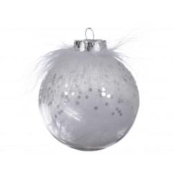 Boule plume ø8 transparent/blanc - DECORIS