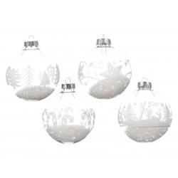 Boule en verre déco neige ø8 argent - DECORIS