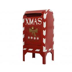 Boîte aux lettres xmas zinc 27x33x67cm rouge - DECORIS