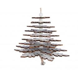 Sapin bois à suspendre ø13x24 blanc/argent - DECORIS