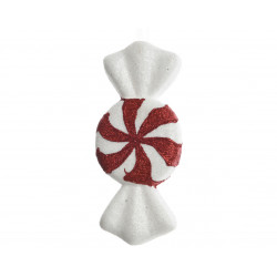 Bonbon Noël 3x20x9cm rouge/blanc - DECORIS