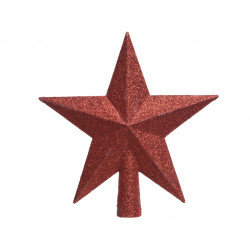Cimier étoile paillettes 4.2x19x19 rouge - DECORIS