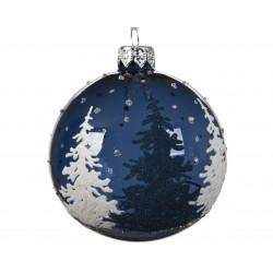 Boule déco en verre sapin paillettes ø8 bleu - DECORIS