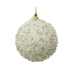Boule mousse perles ø8 blanc laine - DECORIS