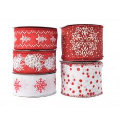 Ruban déco Noël laitonné rouge/blanc - DECORIS