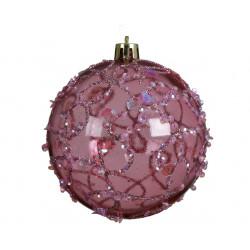 Boule transparente paillettes ø8 vieux rose - DECORIS