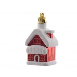 Maison neige à suspendre 7cm rouge - DECORIS