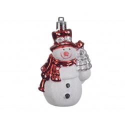 Bonhomme de neige  4x5.5x8cm blanc/rouge - DECORIS
