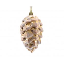 pomme de pin givre à suspendre ø5x9 or clair - DECORIS