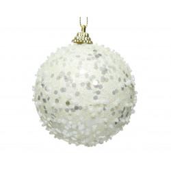 Boule mousse paillettes ø8 blanc laine - DECORIS