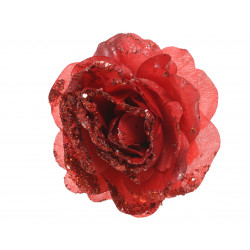 Rose artificiel sequin ø14x8.5 rouge - EVERLANDS