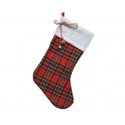 Chausette écossaise à suspendre 45cm rouge - DECORIS