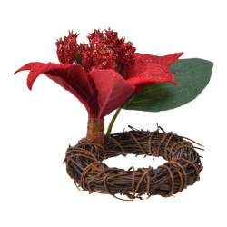 Rond de serviette poinsettia 8x15 vert/rouge - EVERLANDS