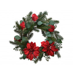 Couronne sapin artificiel poinsettia ø40 vert - EVERLANDS