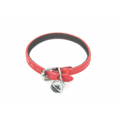 Collier feutrine chat 1 grelot cuir 8mm Rouge - MARTIN SELLIER