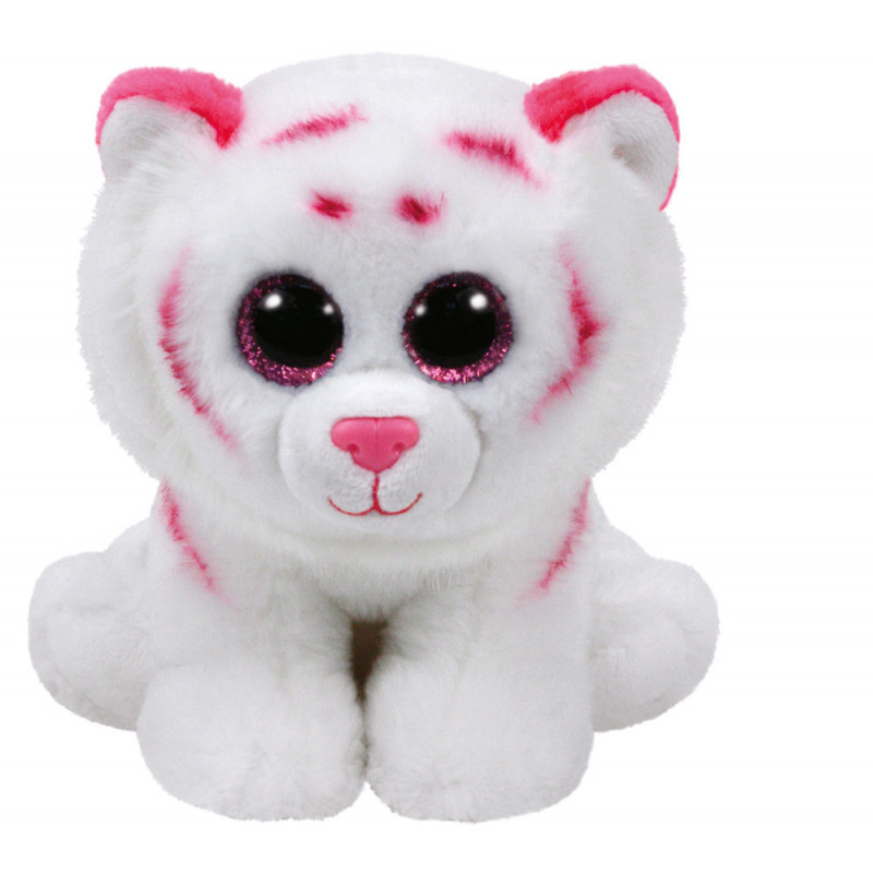 Peluche Beanie babies S Tabor le tigre rose/blan - TY