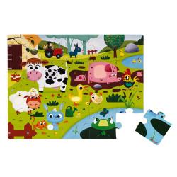 Puzzle tactile - les animaux de la ferme - 20 Pc - JANOD