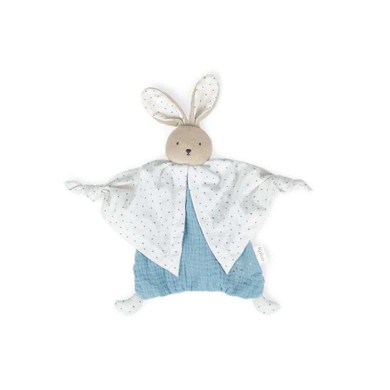 Petit pas - Doudou coton bio lapinou bleu - KALOO