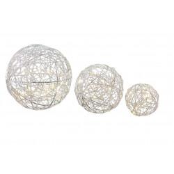 Boules en métal x3 microLED blanc chaud - BLACHERE