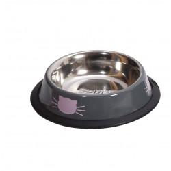 Gamelle tête de chat TU gris/rose - CANIFRANCE
