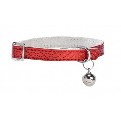 Collier chat power reptile TU cuir rouge - CANIFRANCE