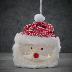 Père Noël tête acrylique LED pile 6x25-H22 rouge - EDELMAN