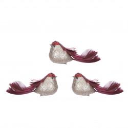 Clip oiseau 3 pièces 5x17-H5 rouge - EDELMAN