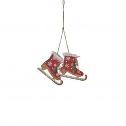 Ornement patin à glace 10cm-H8 rouge - EDELMAN