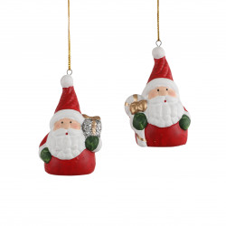 Père Noël ornement 3x4.5-H6.5 rouge - EDELMAN