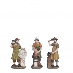 Village ancien figurines 3 pièces 3.5x6-H11 - EDELMAN