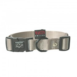 Collier pour chien réglable nylon gris TM - 40-55cm