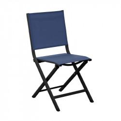 Chaise pliante Thema graphite/bleu - ALIZE