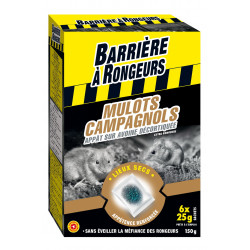 Appat mulots campagnols barriere rongeurs 6x25g - BARRIERE A RONGEURS