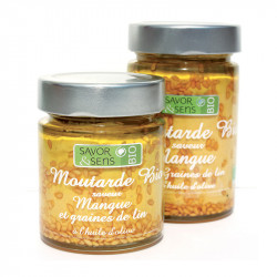 Moutarde Bio saveur Mangue Graine de Lin 130g - SAVOR ET SENS