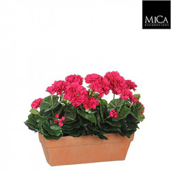 Géranium rose jardinière terra - l39xb13xh40cm - MICA