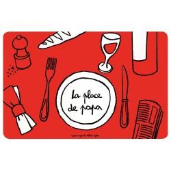 Set de table Place de Papa - DLP - rouge